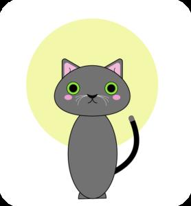 グレー猫ー頭にオーラ